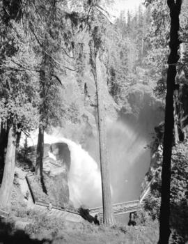 [View of the footbridge and lookout at Elk Falls on Vancouver Island]