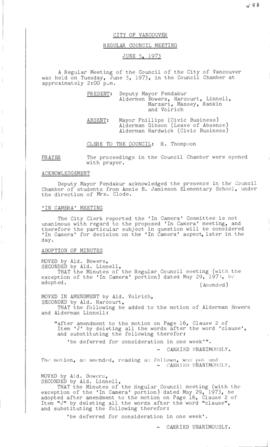 Council Meeting Minutes : June 5, 1973