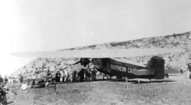 "[Rear view of the ""Southern Cross"" airplane at Harbour Grace]"
