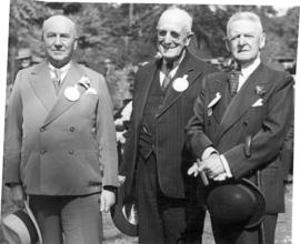 [B.T. Chappell, Harry Mills and Sir George Bury at a C.P.R. Pioneers' picnic]