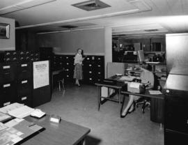 [Interior view of the City Archives, Burrard Street, showing Mrs. Jean Gibbs, Assistant City Arch...