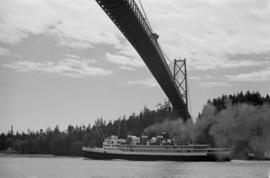 "[S.S. ""Prince Robert"" with the royal party passing under the Lions gate Bridge]"