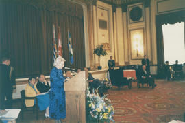 Jeanne Sauvé speaking at the Distinguished Pioneer Award Ceremony at Hotel Vancouver