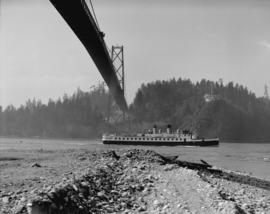 [Ship passing under Lions Gate Bridge]