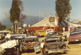 1972 P.N.E., south-west corner of tent - cars belong to demolition derby : [Legion Bingo tent on ...