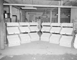 [Empty Bantam Books display racks]