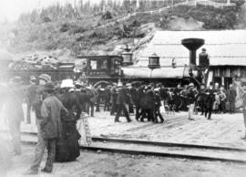 [First through train, C.P.R. locomotive 371, to arrive at Port Moody]