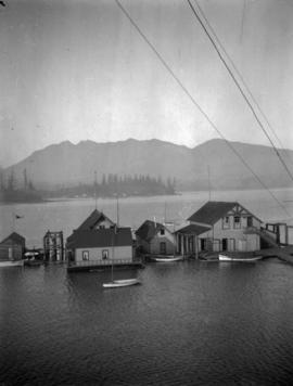 [Boathouses on the north side of Coal Harbour]