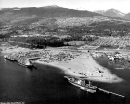 [Aerial view looking north of the] Vancouver Wharves Ltd.