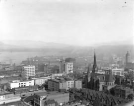 [View of rooftops and buildings northeast of Granville and Georgia Streets]