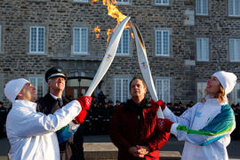 Day 39 Torchbearer 17 Sylvie Gravel is passing the flame to Torchbearer 18 Luc Vigneault  in Nico...