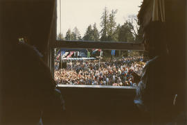 View from window of crowd at the Malkin Bowl Stage