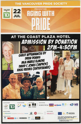 The Vancouver Pride Society presenting Aging with Pride at the Coast Plaza Hotel : Jul 22