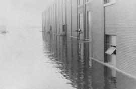 Flood waters next to Manitoba Sugar Company factory building - 1