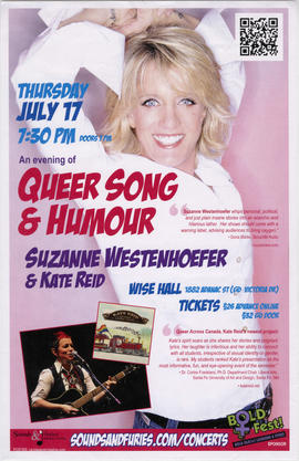 An evening of queer song and humour : Suzanne Westenhoefer and Kate Reid : Wise Hall : Thursday, ...