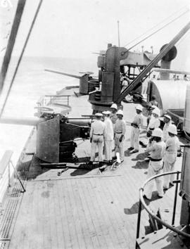 "French guns crew at target shooting starboard battery [aboard the ""Empress of  Russia""]"
