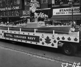 Royal Canadian Navy float in 1953 P.N.E. Opening Day Parade