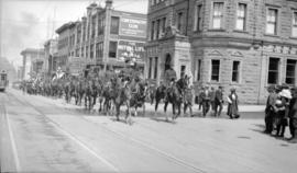 [Procession for the opening of the first Vancouver Exhibition, Granville Street and Dunsmuir Street]