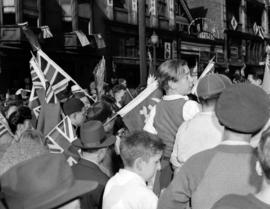 [View of crowd at VJ Day celebrations in Chinatown]
