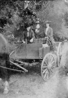 [Grandpa Phillip Wadsworth  and two women in a wagon on Wadsworth Island in the Fraser River]