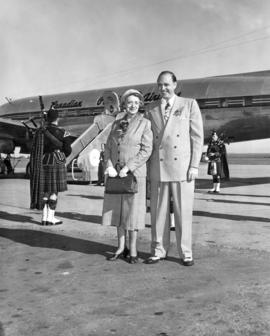 "G.W.G. McConachie and Mrs. W.G. McConachie before pre-inaugural flight of the ""Empress of Sy..."