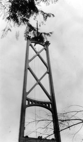 Early construction tower, Lion's Gate Bridge