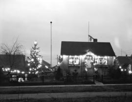 Mr. [Robert] Corbin's electrically decorated house [at 7925 Shaughnessy Street at night]