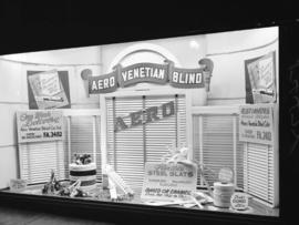 B.C. Electric Railway window display [promoting business in B.C. and] Aero Ventian Blinds