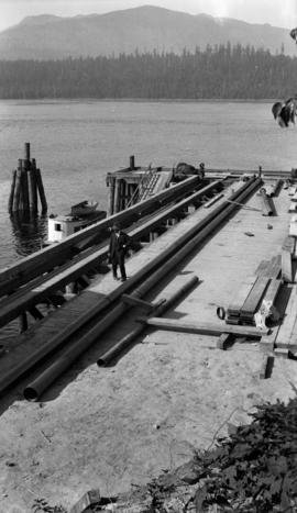 Pipe installation at Wharf on Indian Arm of Burrard Inlet
