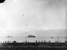 "[View of the S.S. ""Prince Robert"" leaving Victoria after the visit of King George VI an..."