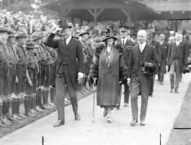 [Mayor L.D. Taylor escorts Governor General Lord Byng and Lady Byng to the opening of the Vancouv...