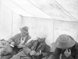 [Members of the British Columbia Mountaineering Club in a tent in Garibaldi District]