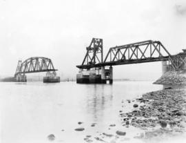 Second Narrows Bridge, 13th April 1925. View looking north east showing 150 foot steel span, the ...