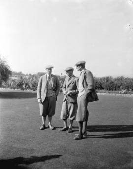 [Prince of Wales, Sir Walter Peacock and A.F. Laselles at Jericho Country Club]