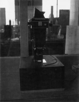 Camera 'set up' for photographing sugar crystals with Linhof camera