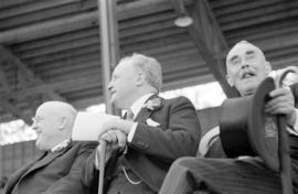 William Aberhart and Duff Pattullo at Golden Jubilee opening ceremonies at Brockton Point Grandstand