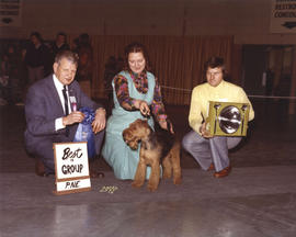 Best in Group award [Terrier Group: Lakeland Terrier] being presented at 1974 P.N.E. All-Breed Do...