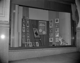 [Window display advertising a teenage fashion show for the Hudson's Bay Co. at the Orpheum]