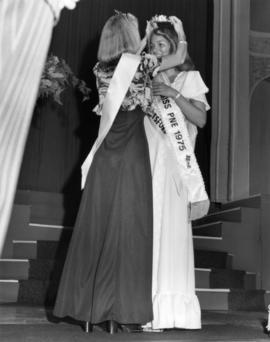 Leanne Moore, Miss P.N.E. 1975 being crowned by the previous winner