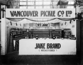 Vancouver Pickle Co. display of Jake Brand pickle and condiment products