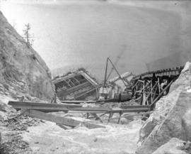 [Collapsed structure and equipment, from construction of Buntzen Lake Power Plant number two]
