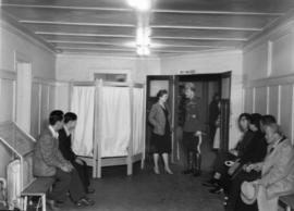 Japanese Canadians in the Horse Show building, Building B, awaiting medical examination during Ja...