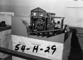 U.B.C. Mechanical Engineering class display of early James Watt steam engine model in P.N.E. Hobb...