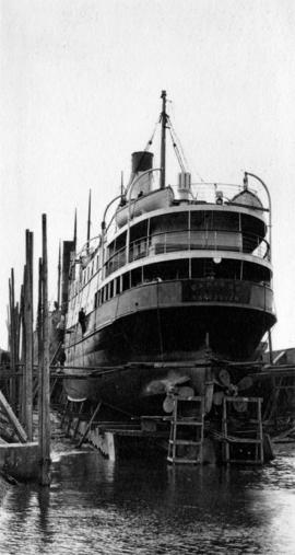 "[The stern of the S.S. ""Cariboo"" in drydock]"