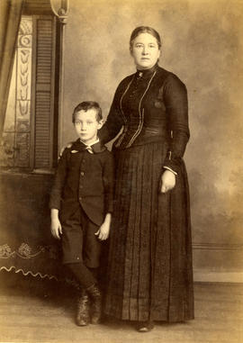 [Unidentified studio portrait of a woman and boy]