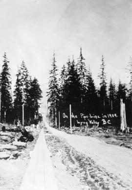 On the pipeline in 1909.  Lynn Valley, B.C.