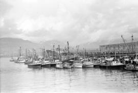 Fishing boats docked [beside the United Grain Growers pier]