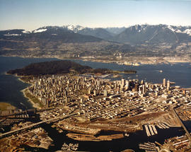 Aerial view of Downtown Vancouver with Stanley Park, North Vancouver, West Vancouver, North Shore...