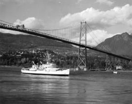 "[H.M.C.S. ""Labrador"" under the Lion's Gate Bridge]"