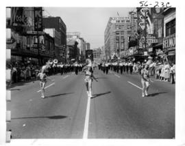 Evelyne Ward Majorettes and West Vancouver Boys and Girls Band in 1956 P.N.E. Opening Day Parade